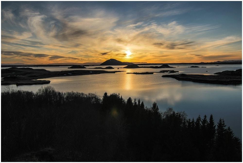 Sonnenuntergang bei Höfði am Myvatn