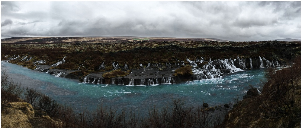 Hraunfossar iphone Panorama
