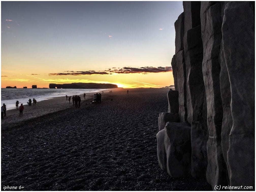Vik Basalt Säulen zum Sonnenuntergang