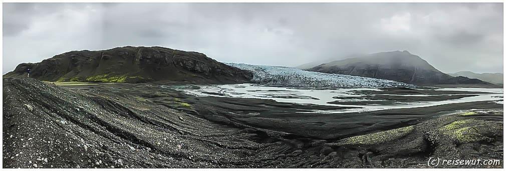 Flaajökull Panorama ... mit Burckhard links im Bild als Größenvergleich