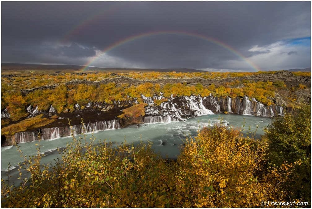 Hraunfossar Double Rainbow