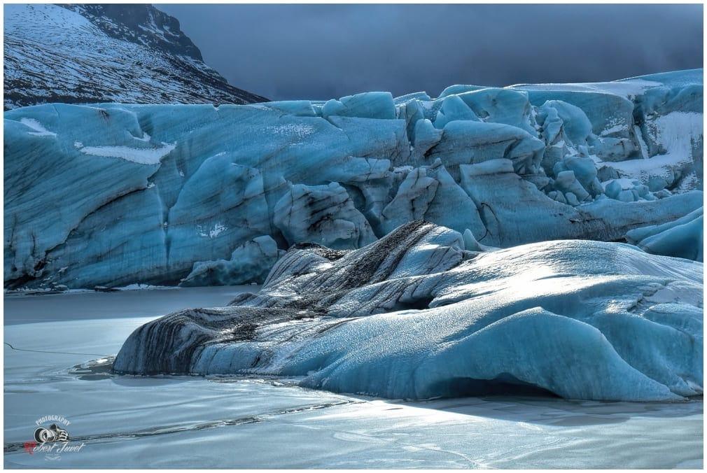 Detailaufnahme vom Eis beim Svinafellsjökull