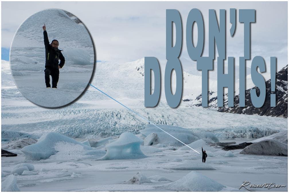 Idiot auf dem Eis am Fjallsárlón