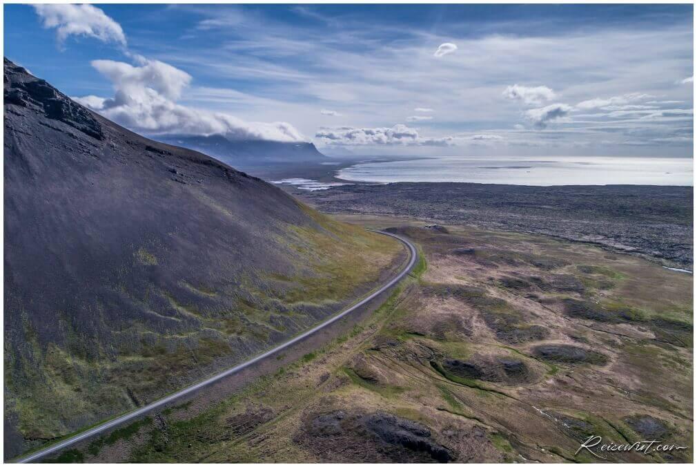 Snaefellsnesvegur, aufgenommen mit der Phantom 4 Pro aus knapp 80m Höhe