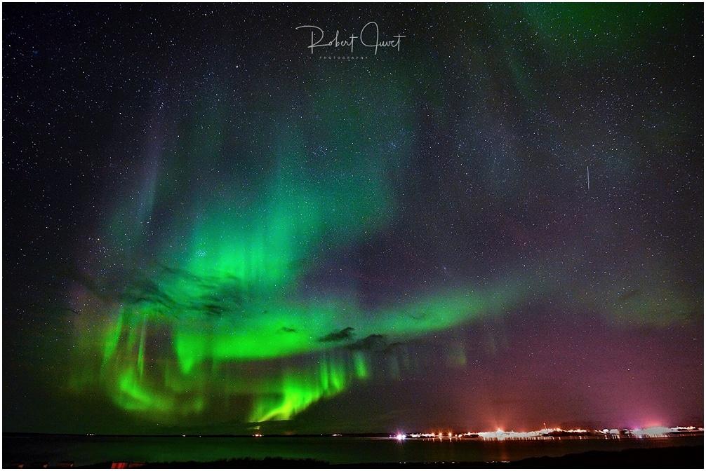 Polarlichter am Abend über Borgarnes