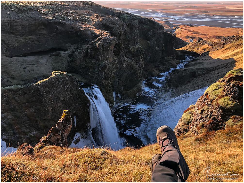 Blick von der Seljalandsheiði neben dem unbekannten No-Name-Waterfall