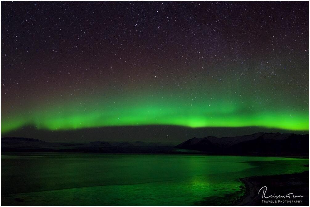 Der krönende Abschluss, oder das i-Tüpfelchen heute ... Polarlichter über dem Jökulsarlon