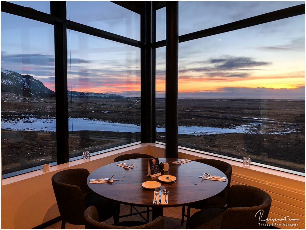 Ausblick aus dem Frühstücksraum vom Fosshotel Glacier Lagoon