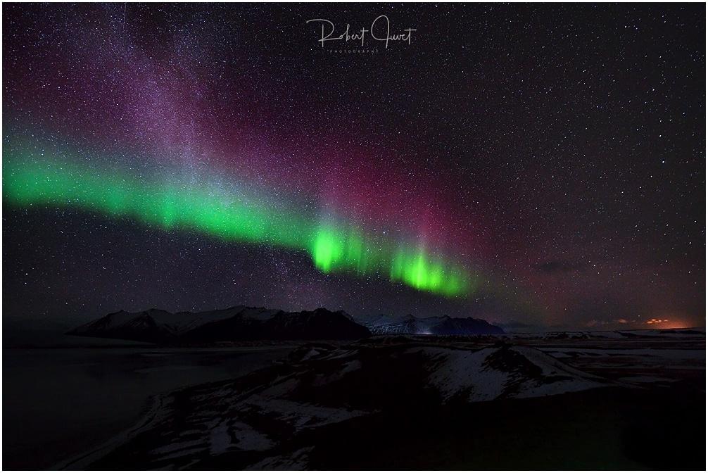 Jökulsarlon Aurora mit Milchstraße