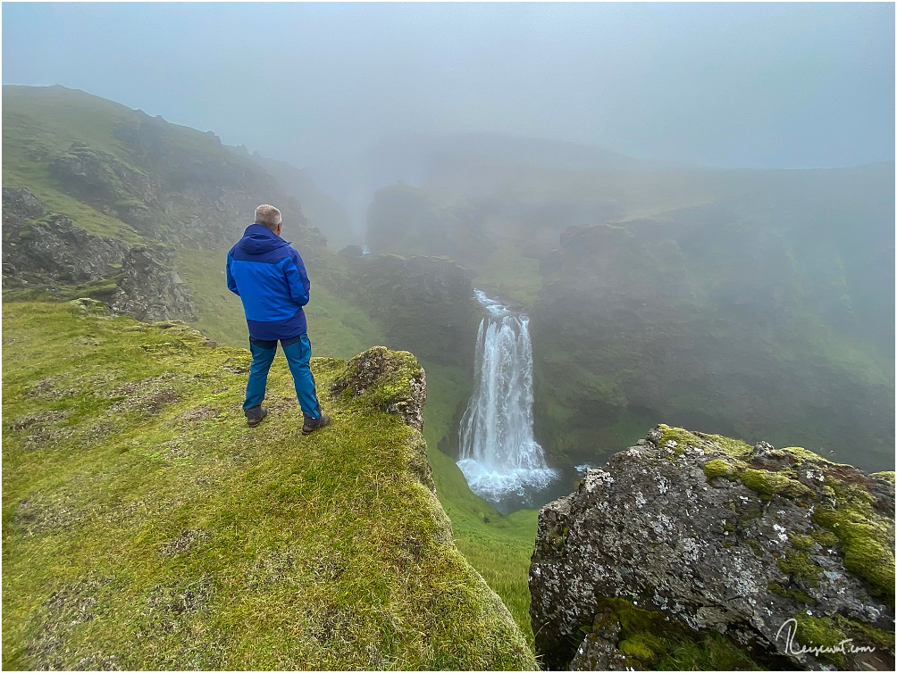 Der No Name Waterfall auf der Seljalandsheidi bei eher suboptimalen Bedingungen