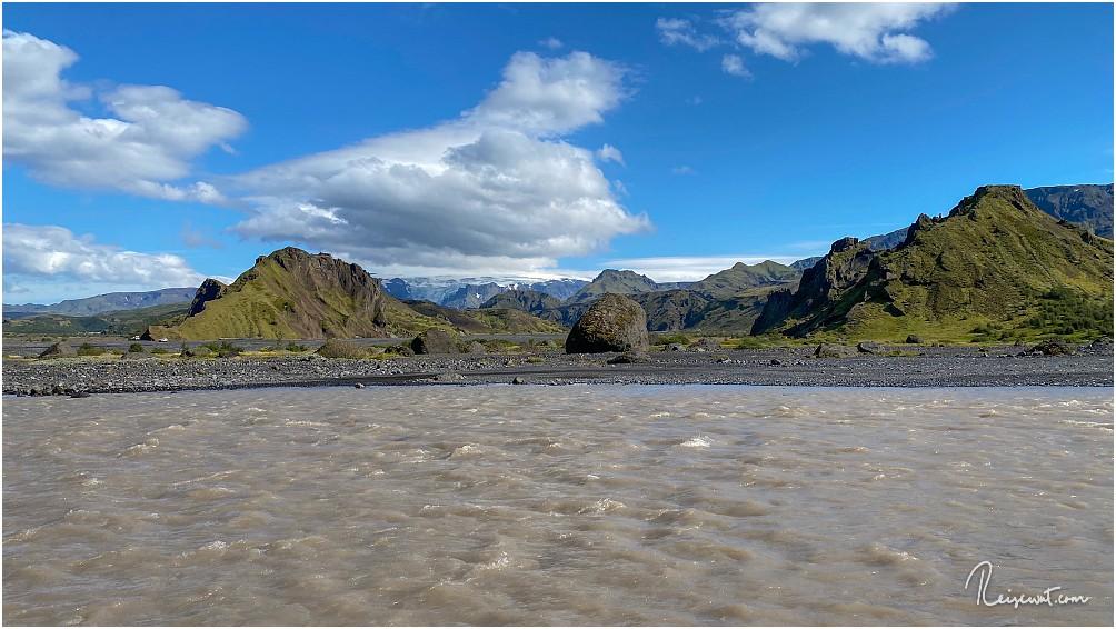 Traumwetter in Þórsmörk ... aber an dieser vorletzten Furt war für uns auf dem Hinweg leider Schluss
