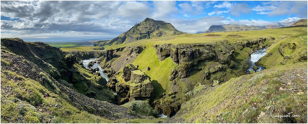 Die ganze Schönheit des Fimmvörðuháls-Trails auf nur einem einzigen Panoramafoto