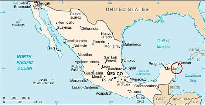 Karte Yucatan Mexiko, der rote Kreis kennzeichnet die ungefähre Lage des Hotels