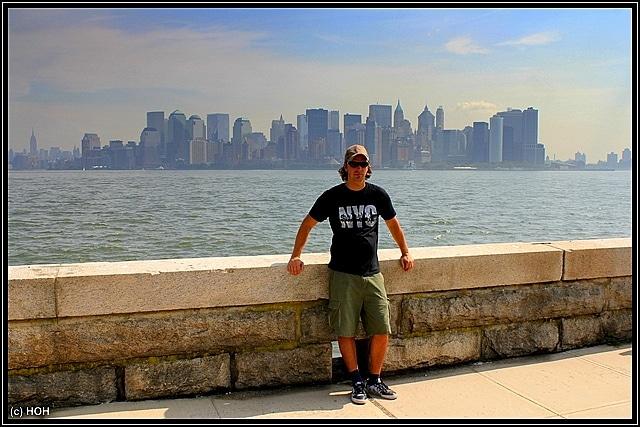 Blick von Ellis Island auf die Skyline von Manhattan