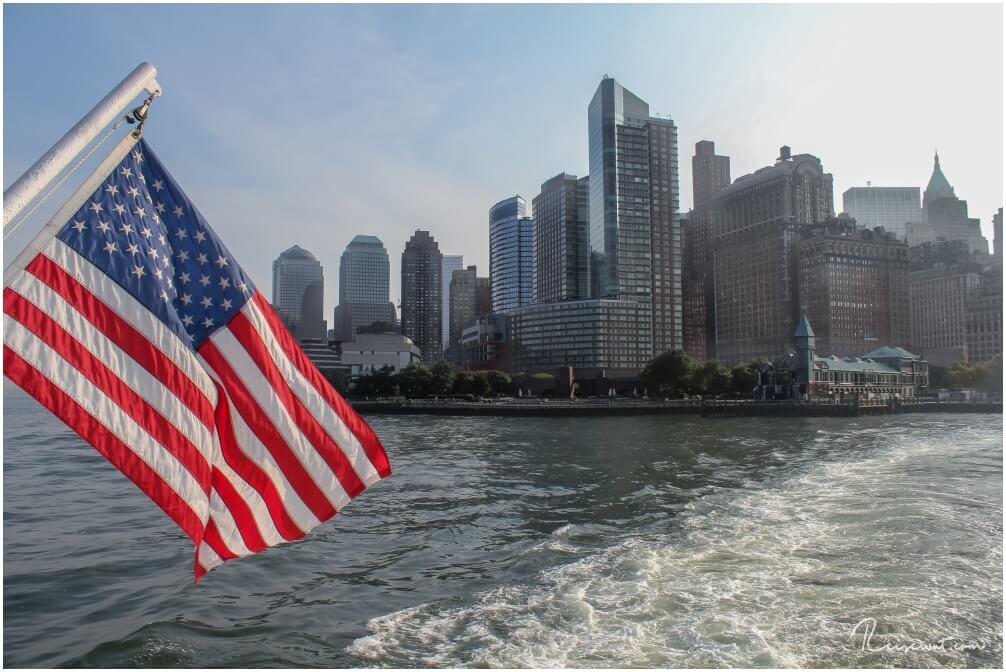 Der Blick von der Staten Island Ferry in Richtung Financial District