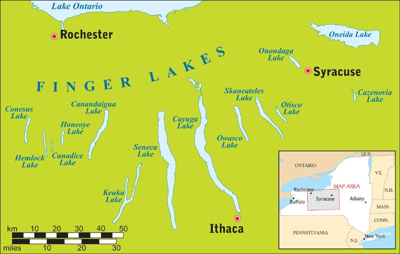 Übersichtskarte Finger Lakes Region