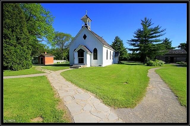 Die alte Kirche in der Balls Falls Conservation Area