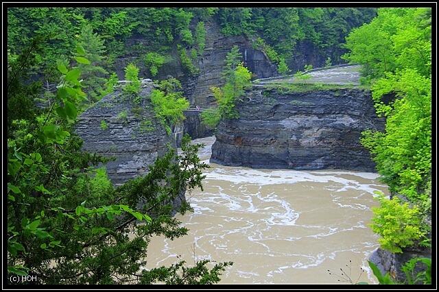 Brücke an den Lower Falls