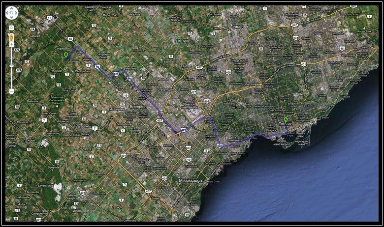Ungefähre Lage der Cheltenham Badlands außerhalb von Toronto
