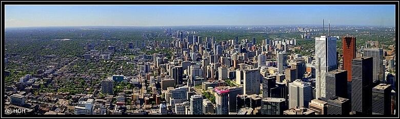 Panorama von Toronto, oben vom CN Tower aus gesehen
