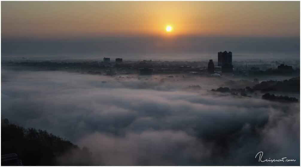 Aus einer der oberen Etagen des Embassy Suites schaut das früh Morgens allerdings völlig genial aus