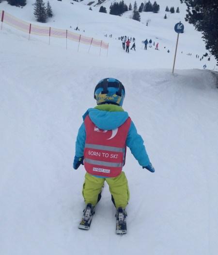 Mausebär lernt Skifahren