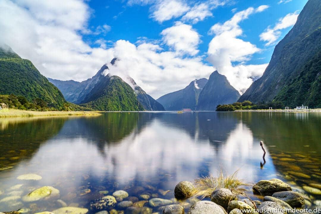 Milford Sound in Neuseeland. Die Landschaft hat uns dort einfach mal wieder erschlagen. Ganz klar, der Milford Sound ist sehr touristisch und du wirst hier nie allein sein, aber nach unserem Besuch wissen wir auch warum das so ist.