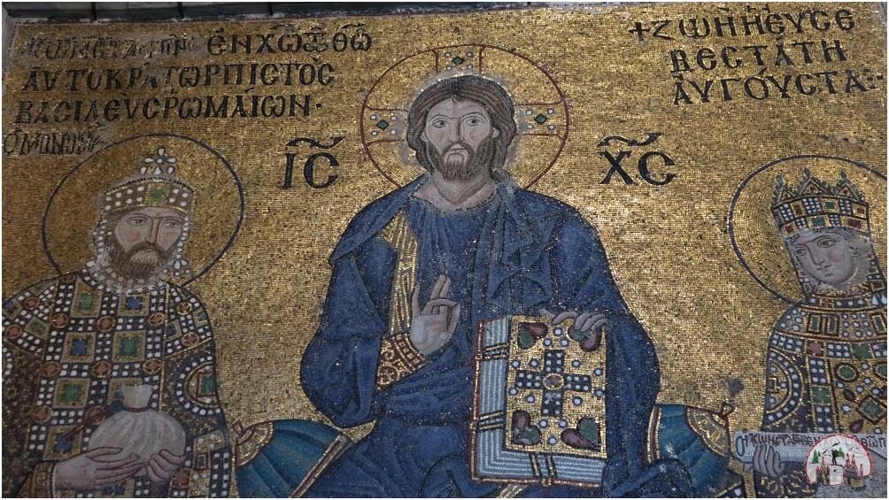 Mosaik von Jesus mit Kaiser Konstantin IX. Monomachos und Kaiserin Zoe