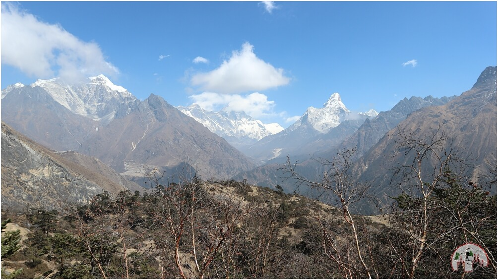 Everest, Lhotse und Ama Dablam Panorama aus dem Everest View Hotel