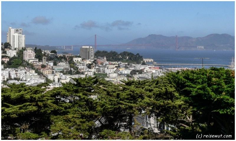 Golden Gate Bridge vom Coit Tower aus gesehen