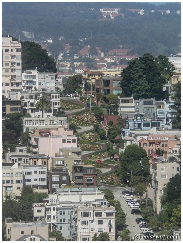Lombard Street vom Coit Tower aus gesehen