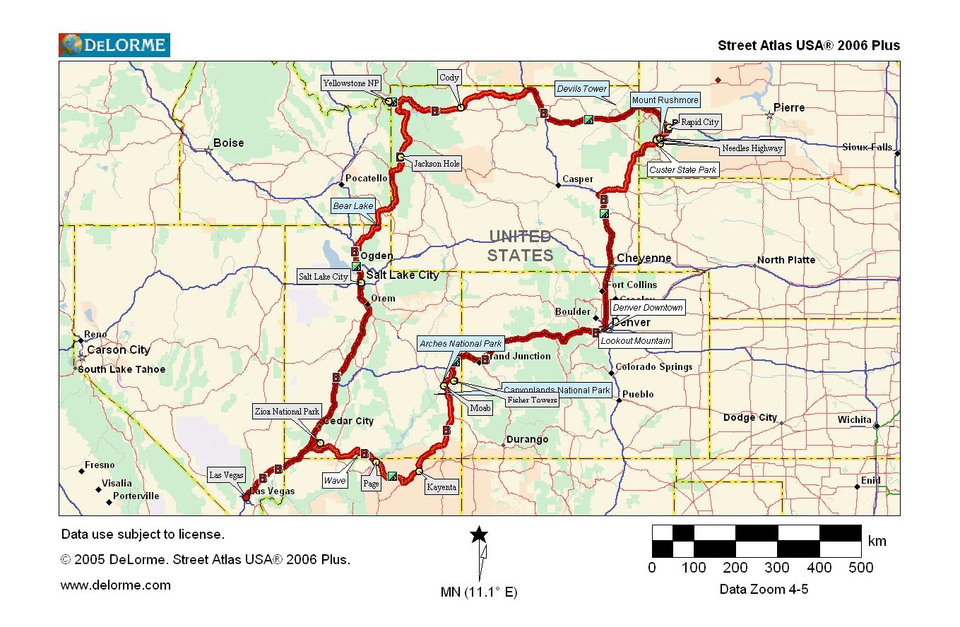 Route und Karte USA West